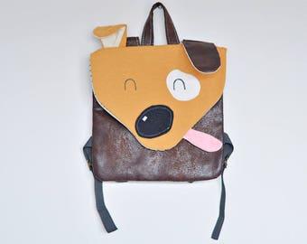 Dog backpack, design baby gift, puppy, backpack funny hand, child backpack, brown, toddler backpack, kids bag, oryginal