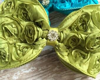 Chartreuse Rosette Bow Hair Clip, Green Hair Bow, Large Hair Bow, Rosette Ribbon Hair Clip, Lime Green Hair Bow, Big Bow Hair Clip, Birthday
