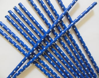 Blue and White Polka Dot Party Straws - Birthday Parties - Baby Showers - Weddings - Set of 12