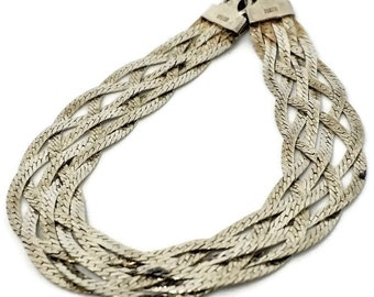 """Sterling Silver .925 Six Strand Braided Vintage Bracelet  7"""" Long Made in Italy"""