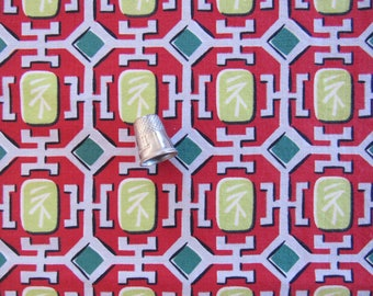 """Asian Inspired Novelty Fabric Vintage 1960s Cotton Red Gray Lime White Fabric 32x33"""" Sewing Quilting Craft Clothing Children Center Cloth"""