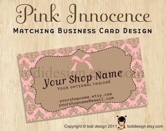 Business Card design to match Pink Innocence Premade shop set