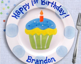 First Birthday Plate for 1st Birthday Party, Customized Baby's First Birthday Boy or Girl, Ceramic Plate