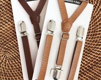 Leather Suspenders, Leather Toddler Suspenders, Leather Baby Suspenders, Leather Kid Suspenders,Leather Little Boy Suspenders,Rustic Wedding
