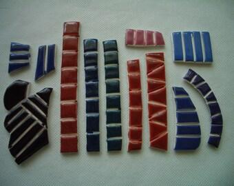 SALE PRICE - QB3 - Darker TINY Tiles - Ceramic Mosaic Tiles