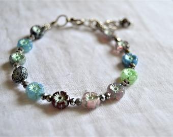 CZECH GLASS FLOWER Bracelet Mixed Color Czech Glass Floral Beads Hematite Charm
