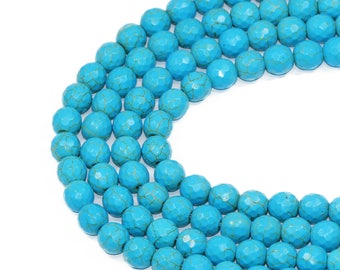 Lovely bead Blue Faceted Turquoise Round 16 Inches Long Strands