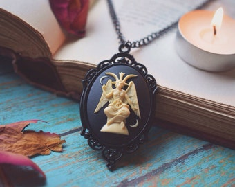Black Baphomet Cameo Necklace//Gothic//Goth//Witchcraft//Pagan//Wiccan//Baphomet