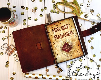 TN Mischief Managed Laminated Dashboard for Traveler's Notebook in Micro, Passport, Pocket, A6, Personal, B6, Standard, and Cashier sizes