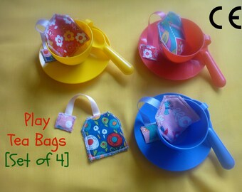 Play Tea Bags (set of 4) - pretend play food - play kitchen food - children's gift - novelty gift - fabric food - toddler toy - fake food