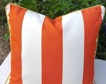 Sunbrella Cabana Flame Stripes Indoor Outdoor Square Lumbar Bolster Pillow Cover with Hidden Zipper
