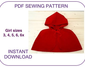 hooded cape pattern VERY EASY PDF sewing pattern Little Red Riding Hood cape pattern for girls. Halloween cape pattern Christmas Carol cape.