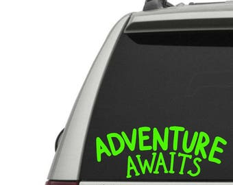 Adventure Awaits Vinyl Decal - The Great Outdoors - Car Window Decal or Laptop Decal - Choose your Size and Color
