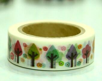 1 Roll of Japanese Washi Masking Tape Roll- Trees