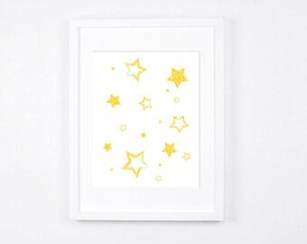 Yellow Stars Nursery Art Printable, Stars Art, Modern Wall Art, Yellow Nursery Digital Print, Scandinavian Baby Room Decor, Happy Kids Room