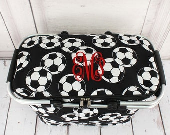 Soccer Insulated Collapsible Market Basket With Lid/ Grocery Tote/ Picnic Basket/ Cooler