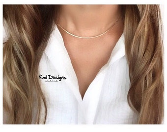 Choker Necklace, Gold Choker Necklace, Choker Necklace Gold, Choker, Gold Curved Bar Necklace, Gold Bar Necklace, Bar Necklace