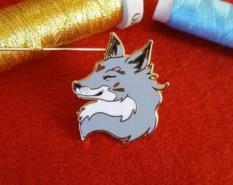 Blue Grey Farthing Fox Hard Enamel Pin - Lapel pin, brooch, pins, enamel fox pin, woodland, folk, forest, animals, fantasy, nature, fox pin