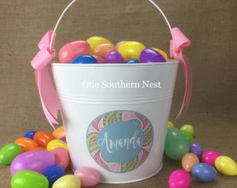 Personalized Easter bucket, Easter basket, Easter pail for a girl in small, medium, or large.  Example: Amanda