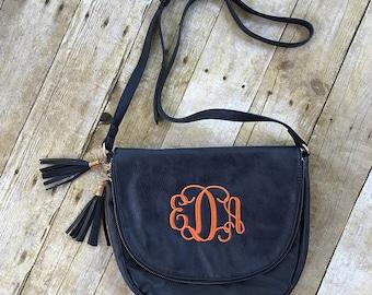 Monogrammed Tassel Crossbody Bag, Monogram Purse, Handbag, Shoulder Bag, Christmas Gift for Her