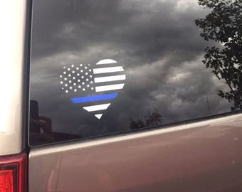 Police Wife Car Decal Police Love Decal Support Law Enforcement Heart Decal Thin Blue Line Car Decal American Flag Blue Lind Heart Decal
