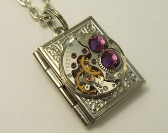 Steampunk Jewelry  Book Locket Necklace vintage watch movement lilac Swarovski crystals gift for women friend Gift for Her OOAK Reader gift