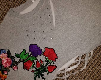 ReMixxxed Cropped Floral Crew Neck Sweater, Distressed, Studded, and Destroyed