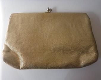 Mid-Century Modern Sparkly Gold Clutch Evening Bag
