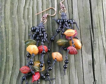 Colorful Seed Earrings, Boho Dangles,  Black Beads, Waxed Cotton, Copper Ear Wires,