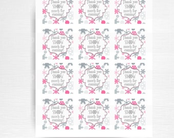 Thanks SNOW Much For Coming Party Favor Tag Winter Wonderland Birthday Favor YOU print Pink Silver