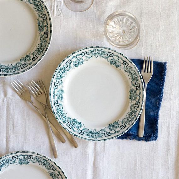 French Garden Rose & Ribbon Transferware Plates - set of 5