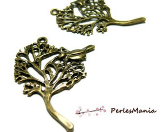 10 pendants bird and tree A11042 silver metal