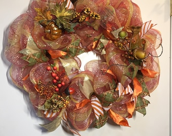 """FREE SHIPPING! Iridescent Fall Wreath with Pumpkins, Acorns, and Premium Embellishments - 24"""""""