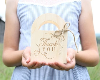 Thank You Gift Box Wood Gift Box Thank You Favor Gift Box Wedding Favors