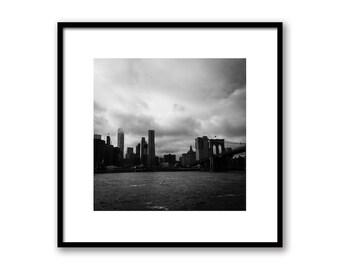 New York City Manhattan and Brooklyn Bridge, Manhattan Print, NYC Brooklyn Bridge Photography, New York Mahattan, Wall decor New York