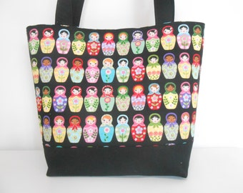 Large Russian Doll Tote Bag, Large Black tote Bag with Pockets