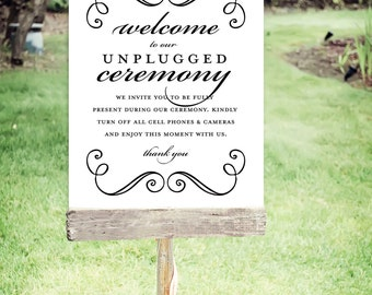 """Unplugged Wedding Sign   Instant Download   Wedding Signs   Swirls   Poster Size 24""""x30""""   No. EDN 2012P"""