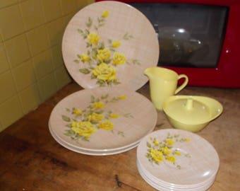 c-vintage texas ware melmac dinnerware set sugar creamer