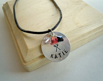 Lacrosse LAX Necklace Personalized and Stamped with Your Name, Team, Many Sports Available SALE CLOSEOUT