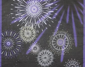 Furoshiki 'Hanabi' Fireworks Cotton Japanese Fabric w/Free Insured Shipping