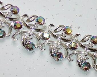 Vintage Filigree Wide Bracelet AB Aurora Borealis Rhinestones, Silver Tone Metal, Wedding Prom Bracelet