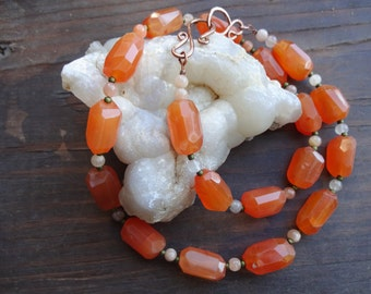 Carnelian Nugget and Moonstone Necklace