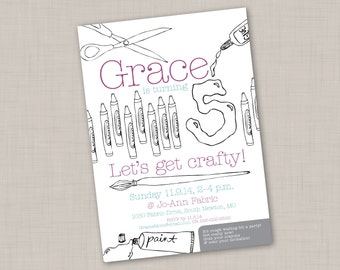 Crafty Birthday Party Invitation (PRINT YOUR OWN)
