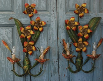 2 Large tole wall sconces, leaves,  fruit. Italian. 1960. Two branch  lights. Very decorative wall lighting for kitchen or hallway.