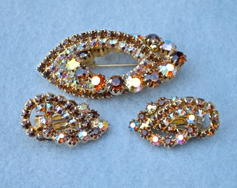 Topaz and AB Rhinestones Brooch & Earring Set Vintage