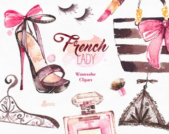French Lady. Watercolor fashion Clipart, shoes, fashion, lipstick, lingerie, parfume, dog, gift, Paris, nailpolish,  bags, glam, stickers