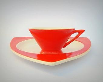Atomic Art Deco Salem Streamline Cup w/ Tricorne Saucer in Mandarin Orange - Priced by Condition