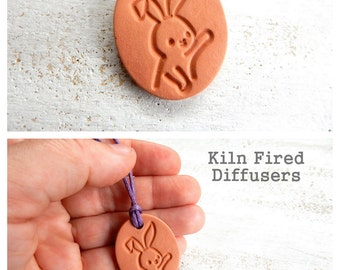 Easter Bunny Rabbit Kids Essential Oil Diffuser Pendant Necklace Aromatherapy Terracotta Pendant Handmade Clay Hypoallergenic Jewelry Gift