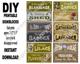 Garden Blocks 3 1/2 X 9 inch , 12 Printable Signs Decoupage Sheets Primitive SOOO..... EASY , ( anyone an make these )