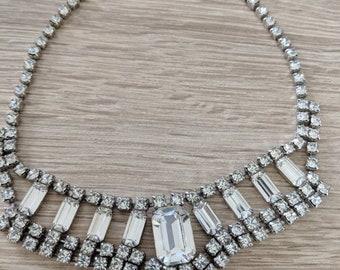 Gorgeous Emerald Cut Rhinestone Necklace